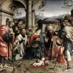 Francesco Francia (1450-1517)  Adoration of the Child  Panel  Pinacoteca Nazionale, Bologna, Italy